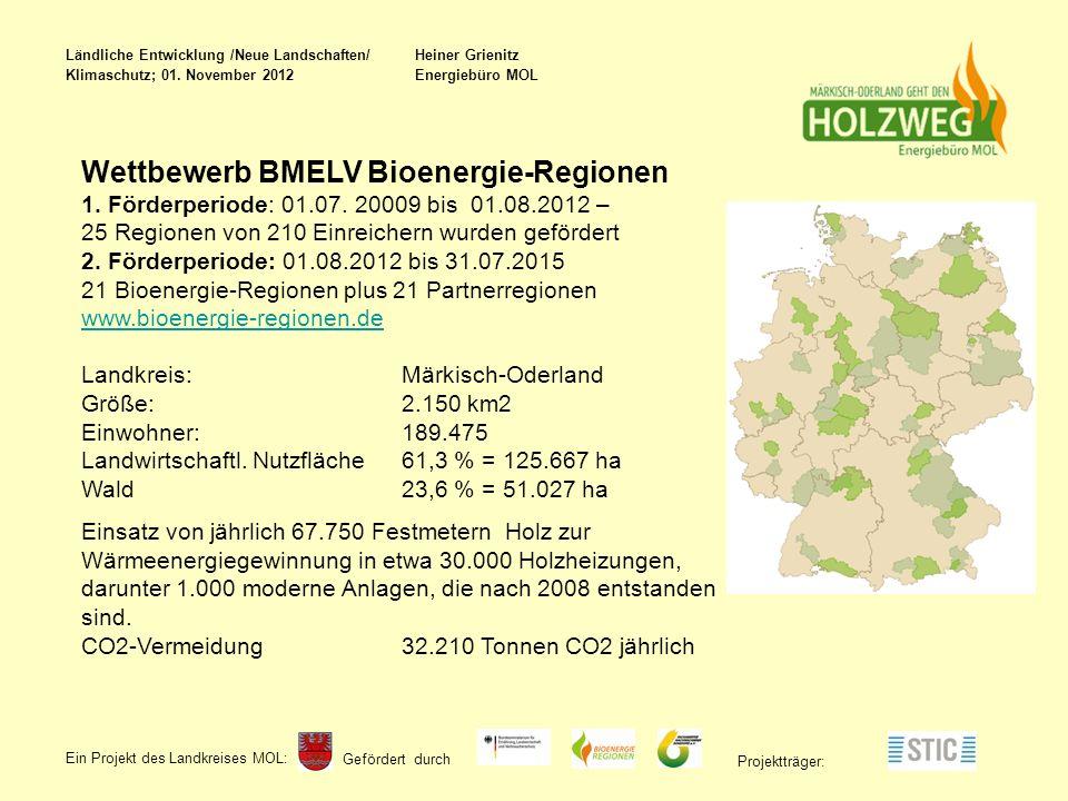 Gefördert durch Ein Projekt des Landkreises MOL : Projektträger: Wettbewerb BMELV Bioenergie-Regionen 1.