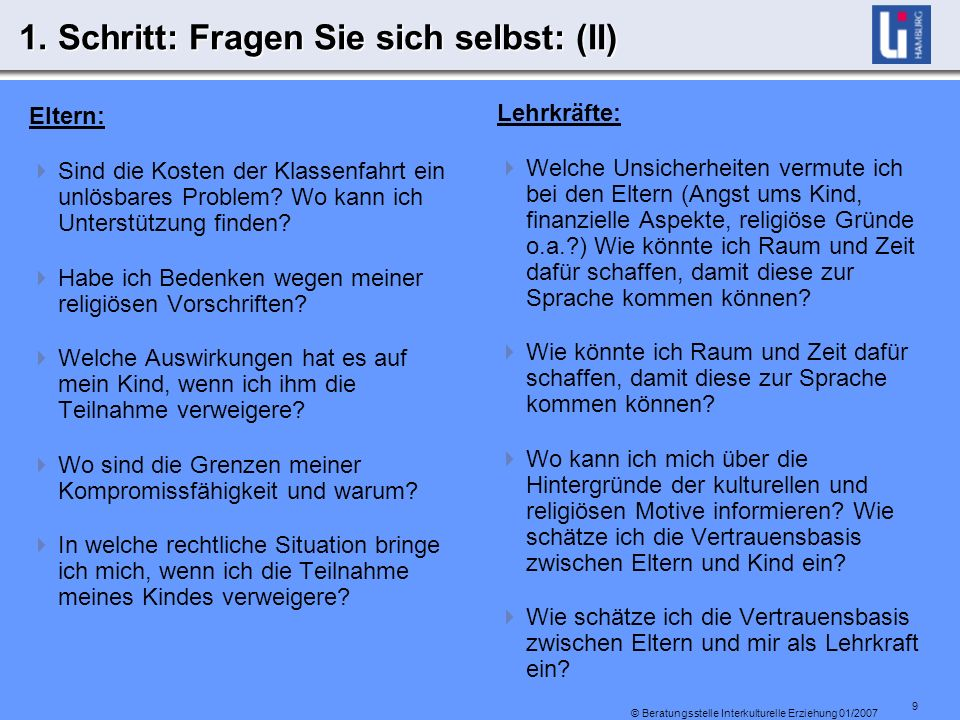 9 © Beratungsstelle Interkulturelle Erziehung 01/2007 1.