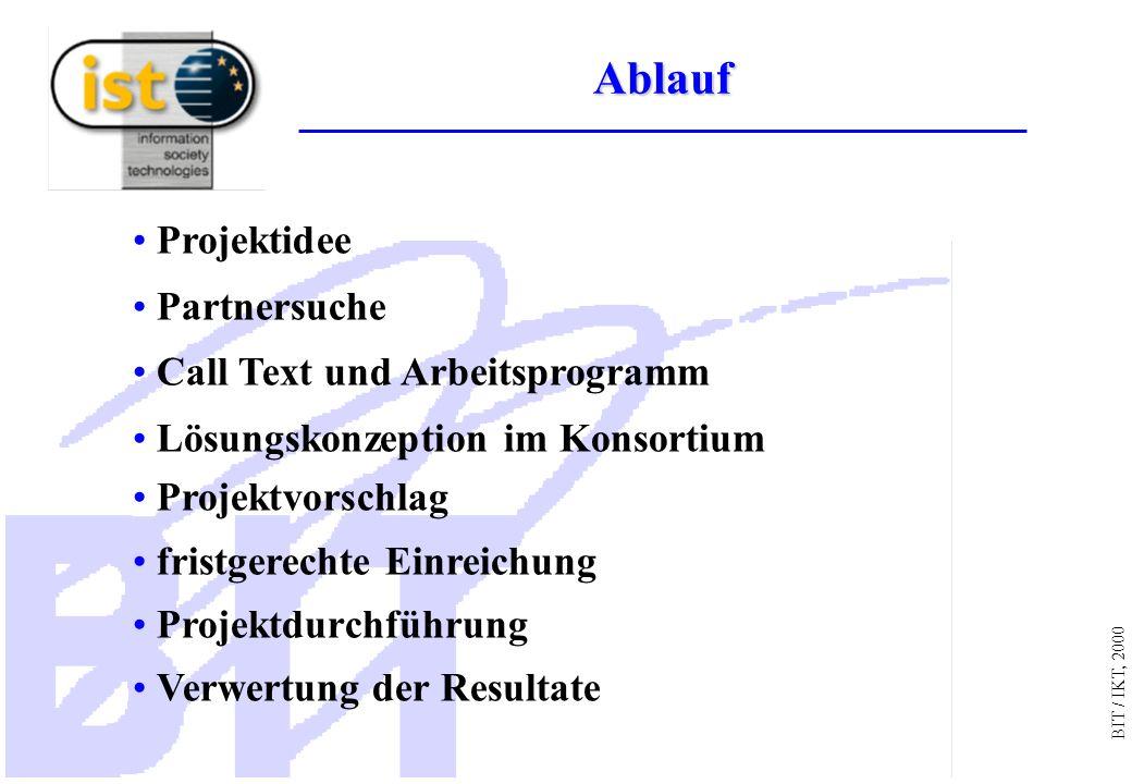 BIT / IKT, 2000 Projektidee Partnersuche Call Text und Arbeitsprogramm Lösungskonzeption im Konsortium Projektvorschlag fristgerechte Einreichung Projektdurchführung Verwertung der Resultate Ablauf