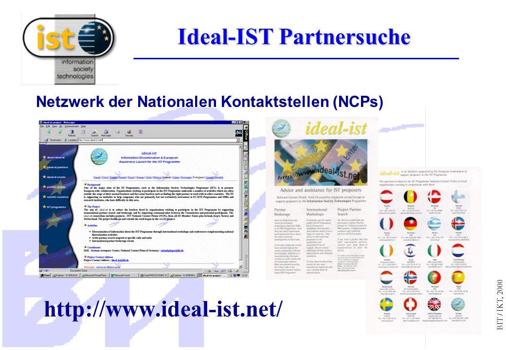 BIT / IKT, 2000 http://www.ideal-ist.net/ Netzwerk der Nationalen Kontaktstellen (NCPs) Ideal-IST Partnersuche