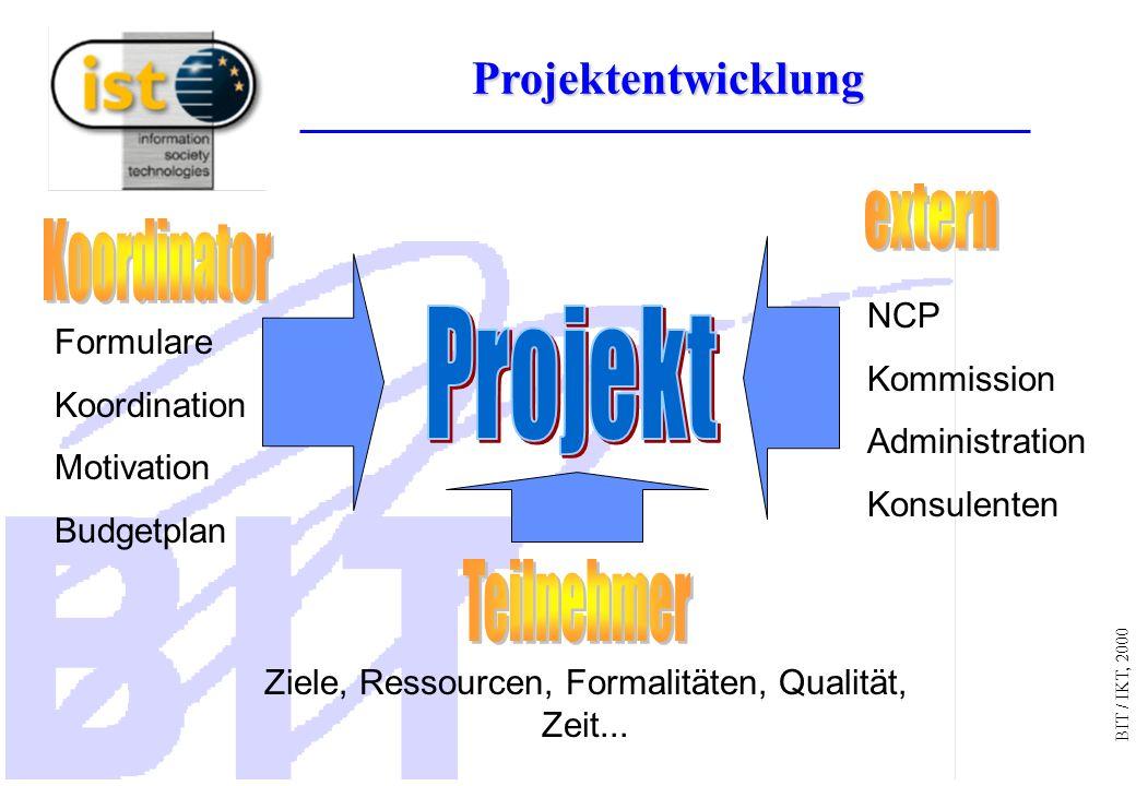 BIT / IKT, 2000 Projektentwicklung Ziele, Ressourcen, Formalitäten, Qualität, Zeit...