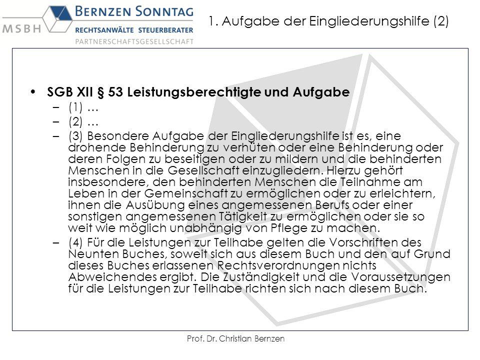 1. Aufgabe der Eingliederungshilfe (2) SGB XII § 53 Leistungsberechtigte und Aufgabe –(1) … –(2) … –(3) Besondere Aufgabe der Eingliederungshilfe ist