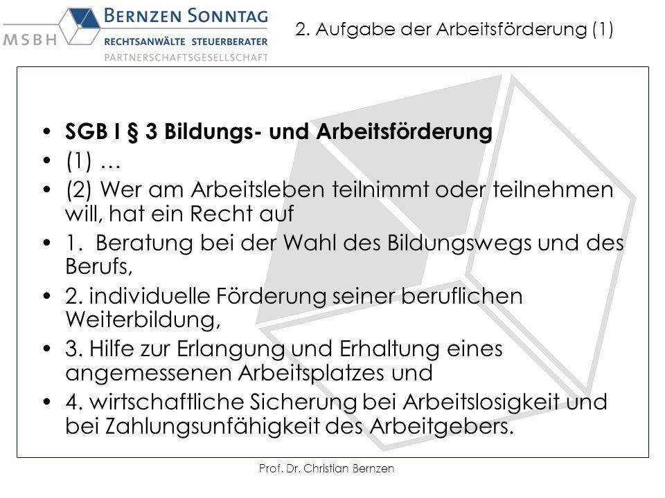 2. Aufgabe der Arbeitsförderung (1) SGB I § 3 Bildungs- und Arbeitsförderung (1) … (2) Wer am Arbeitsleben teilnimmt oder teilnehmen will, hat ein Rec