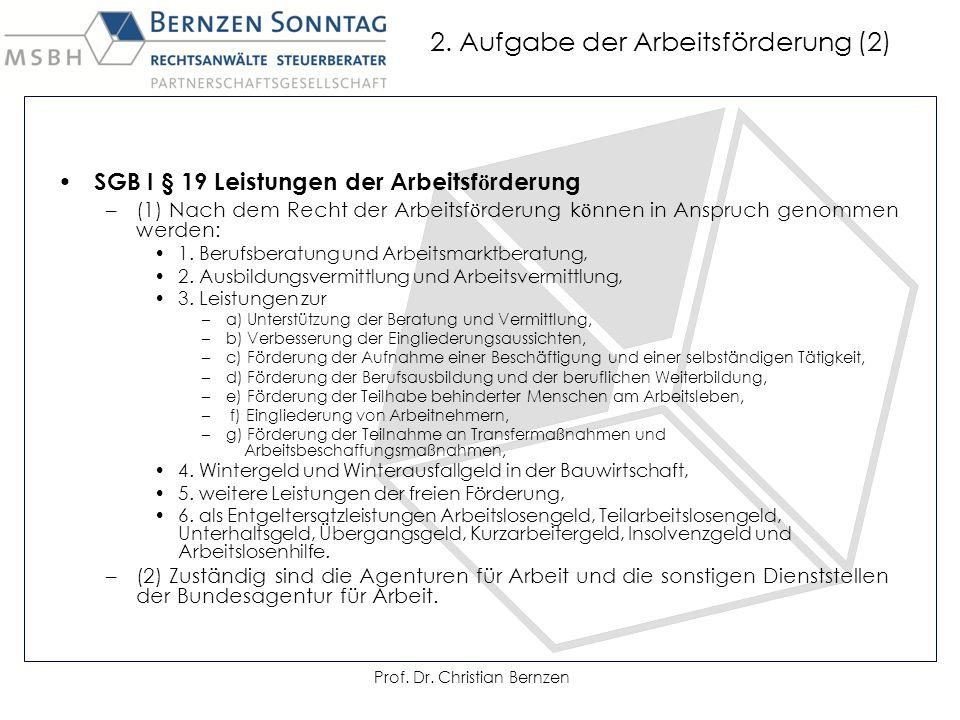 2. Aufgabe der Arbeitsförderung (2) SGB I § 19 Leistungen der Arbeitsf ö rderung –(1) Nach dem Recht der Arbeitsf ö rderung k ö nnen in Anspruch genom