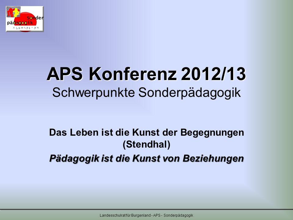 Landesschulrat für Burgenland - APS - Sonderpädagogik APS Konferenz 2012/13 APS Konferenz 2012/13 Schwerpunkte Sonderpädagogik Das Leben ist die Kunst
