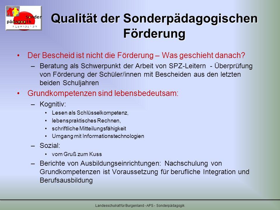 Qualität der Sonderpädagogischen Förderung Der Bescheid ist nicht die Förderung – Was geschieht danach? –Beratung als Schwerpunkt der Arbeit von SPZ-L