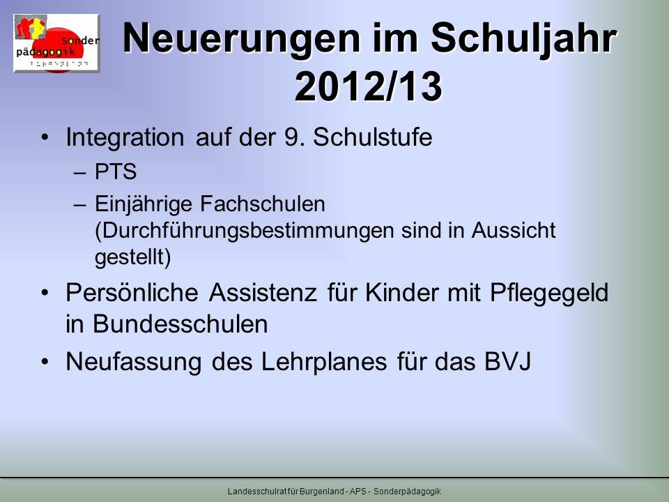 Neuerungen im Schuljahr 2012/13 Integration auf der 9. Schulstufe –PTS –Einjährige Fachschulen (Durchführungsbestimmungen sind in Aussicht gestellt) P