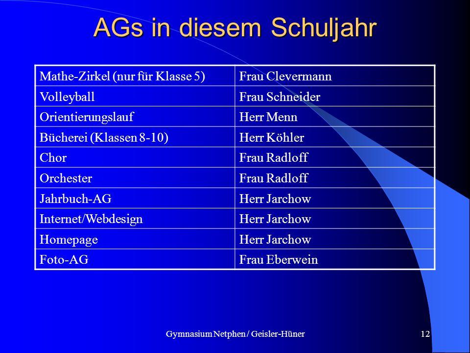 Gymnasium Netphen / Geisler-Hüner12 AGs in diesem Schuljahr Mathe-Zirkel (nur für Klasse 5)Frau Clevermann VolleyballFrau Schneider OrientierungslaufH