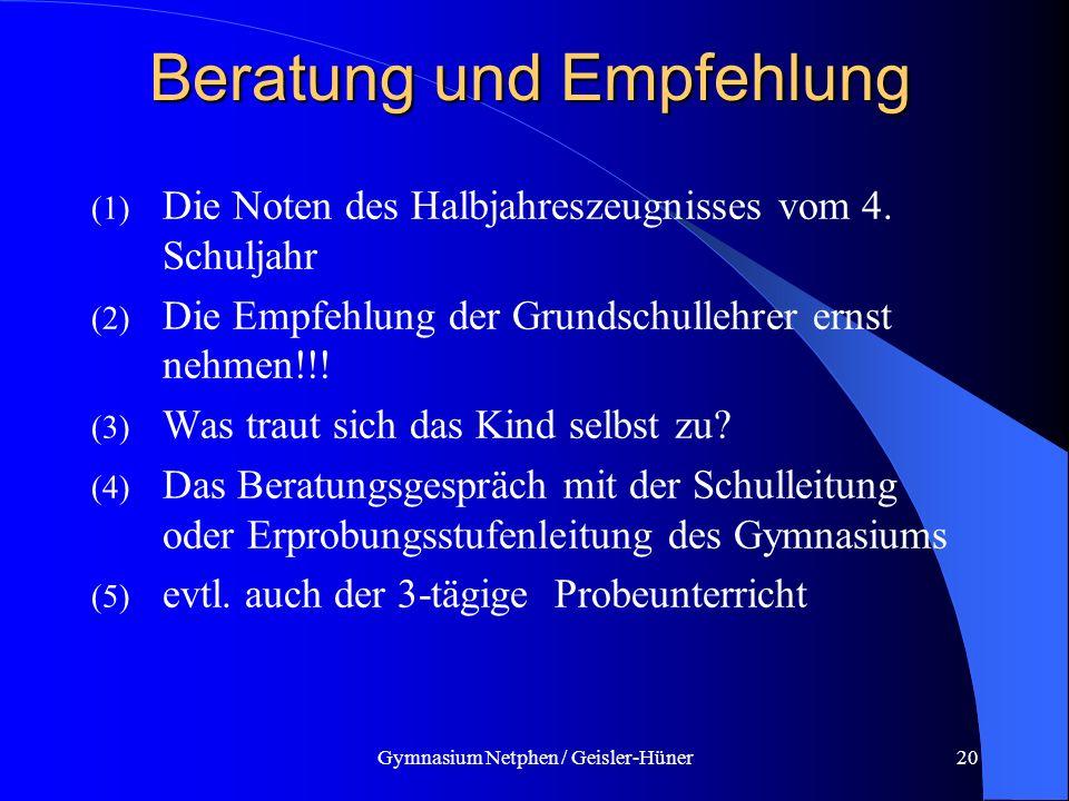 Gymnasium Netphen / Geisler-Hüner20 Beratung und Empfehlung (1) Die Noten des Halbjahreszeugnisses vom 4. Schuljahr (2) Die Empfehlung der Grundschull