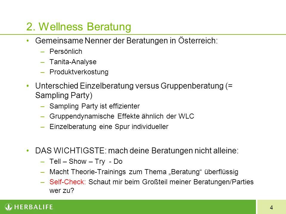 4 2. Wellness Beratung Gemeinsame Nenner der Beratungen in Österreich: –Persönlich –Tanita-Analyse –Produktverkostung Unterschied Einzelberatung versu