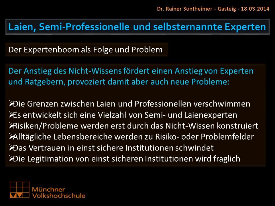 Dr. Rainer Sontheimer - Gasteig - 18.03.2014 Der Expertenboom als Folge und Problem Der Anstieg des Nicht-Wissens fördert einen Anstieg von Experten u