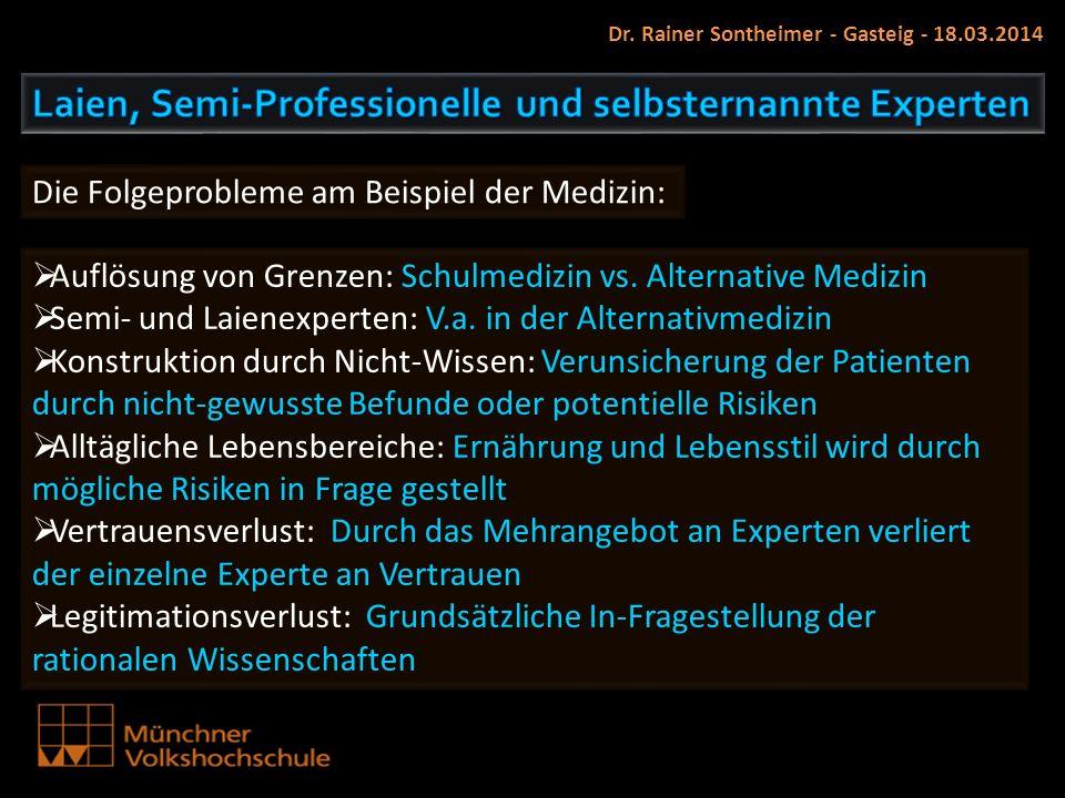 Dr. Rainer Sontheimer - Gasteig - 18.03.2014 Auflösung von Grenzen: Schulmedizin vs. Alternative Medizin Semi- und Laienexperten: V.a. in der Alternat