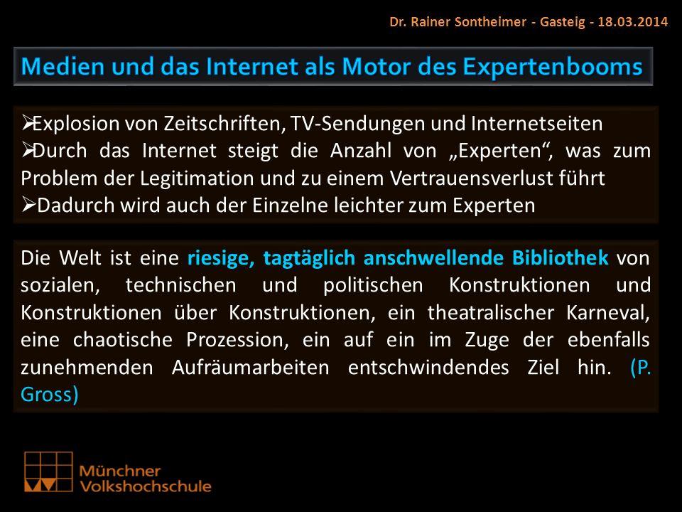 Dr. Rainer Sontheimer - Gasteig - 18.03.2014 Die Welt ist eine riesige, tagtäglich anschwellende Bibliothek von sozialen, technischen und politischen