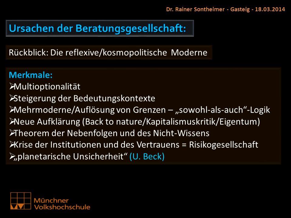 Dr. Rainer Sontheimer - Gasteig - 18.03.2014 Rückblick: Die reflexive/kosmopolitische Moderne Merkmale: Multioptionalität Steigerung der Bedeutungskon