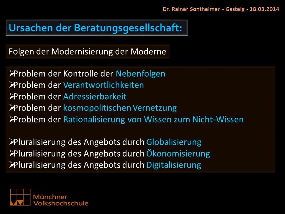 Dr. Rainer Sontheimer - Gasteig - 18.03.2014 Problem der Kontrolle der Nebenfolgen Problem der Verantwortlichkeiten Problem der Adressierbarkeit Probl