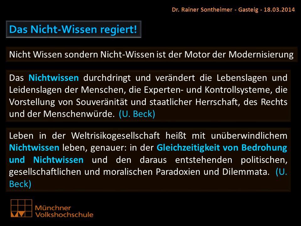 Dr. Rainer Sontheimer - Gasteig - 18.03.2014 Nicht Wissen sondern Nicht-Wissen ist der Motor der Modernisierung Das Nichtwissen durchdringt und veränd