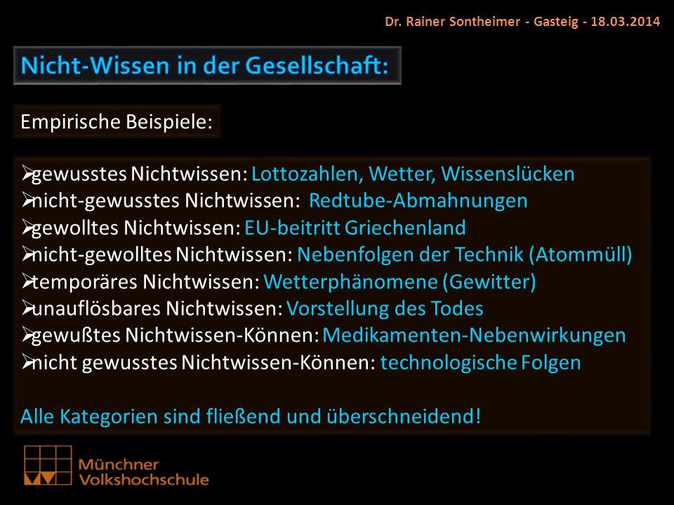 Dr. Rainer Sontheimer - Gasteig - 18.03.2014 Empirische Beispiele: gewusstes Nichtwissen: Lottozahlen, Wetter, Wissenslücken nicht-gewusstes Nichtwiss
