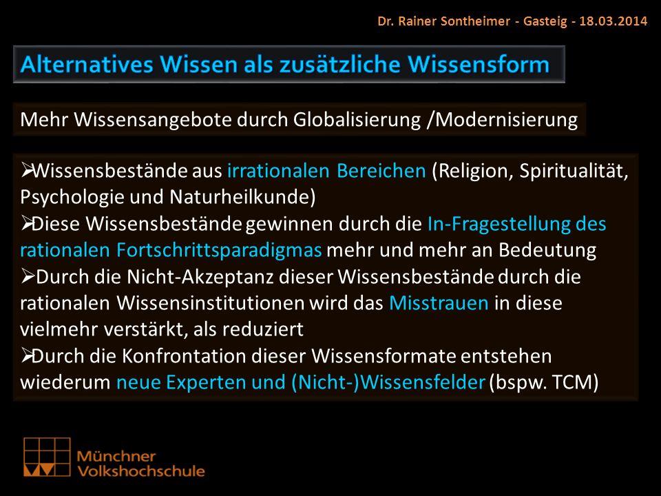 Dr. Rainer Sontheimer - Gasteig - 18.03.2014 Mehr Wissensangebote durch Globalisierung /Modernisierung Wissensbestände aus irrationalen Bereichen (Rel