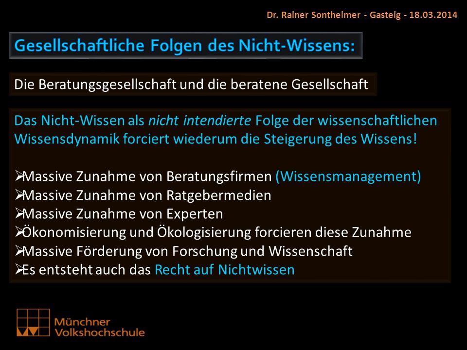 Dr. Rainer Sontheimer - Gasteig - 18.03.2014 Die Beratungsgesellschaft und die beratene Gesellschaft Das Nicht-Wissen als nicht intendierte Folge der