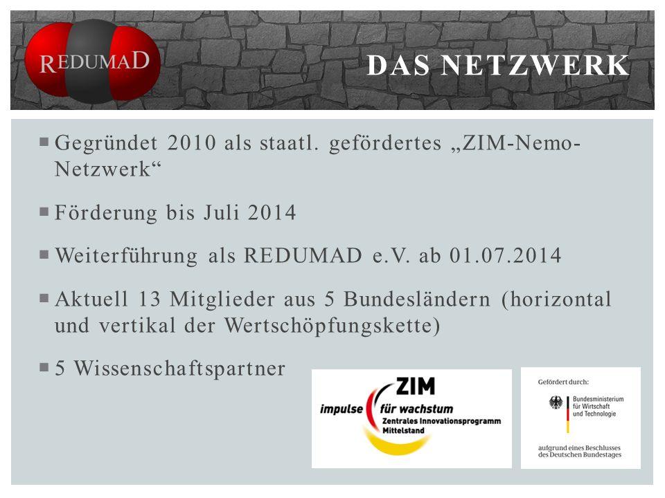 Gegründet 2010 als staatl. gefördertes ZIM-Nemo- Netzwerk Förderung bis Juli 2014 Weiterführung als REDUMAD e.V. ab 01.07.2014 Aktuell 13 Mitglieder a
