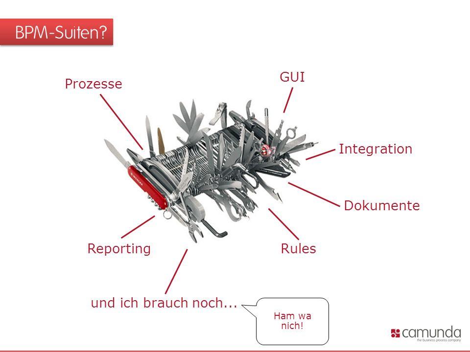 BPM-Suiten Prozesse Integration Rules GUI Reporting Dokumente und ich brauch noch... Ham wa nich!