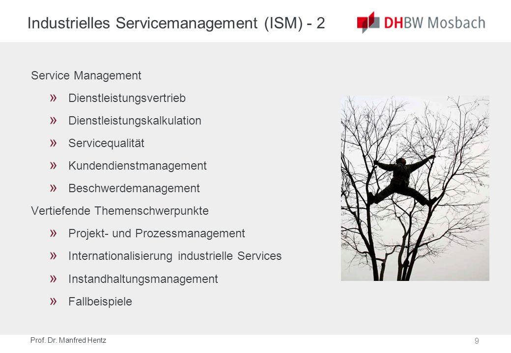 9 Prof. Dr. Manfred Hentz Industrielles Servicemanagement (ISM) - 2 Service Management » Dienstleistungsvertrieb » Dienstleistungskalkulation » Servic