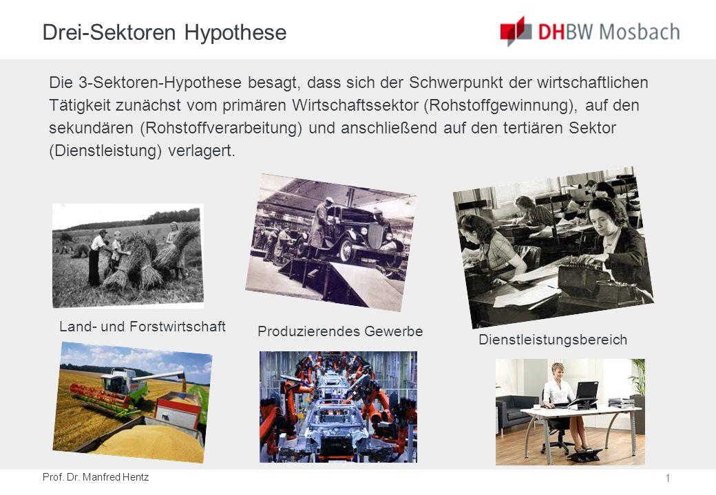 1 Drei-Sektoren Hypothese Die 3-Sektoren-Hypothese besagt, dass sich der Schwerpunkt der wirtschaftlichen Tätigkeit zunächst vom primären Wirtschaftss