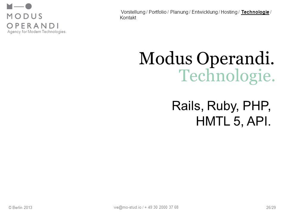 Agency for Modern Technologies. Modus Operandi. Technologie.
