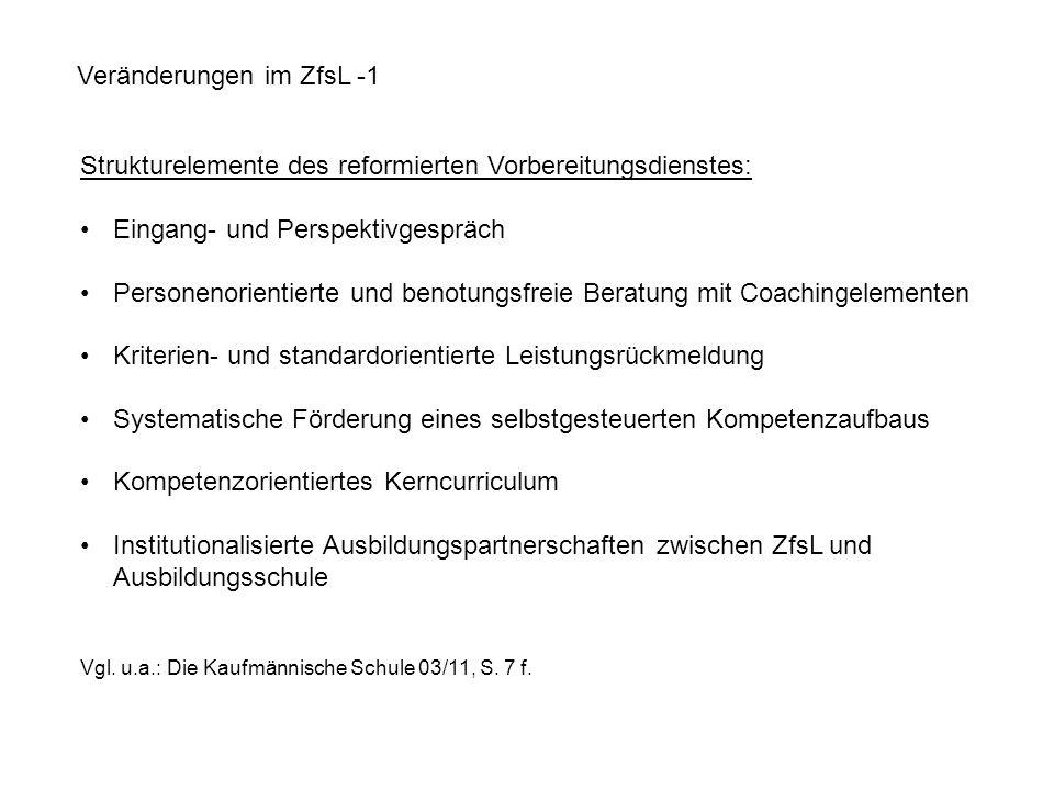 Veränderungen im ZfsL -1 Strukturelemente des reformierten Vorbereitungsdienstes: Eingang- und Perspektivgespräch Personenorientierte und benotungsfre