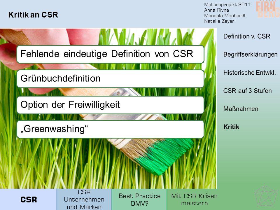 Maturaprojekt 2011 Anna Rivna Manuela Manhardt Natalie Zeyer Kritik an CSR Fehlende eindeutige Definition von CSRGrünbuchdefinitionOption der Freiwill