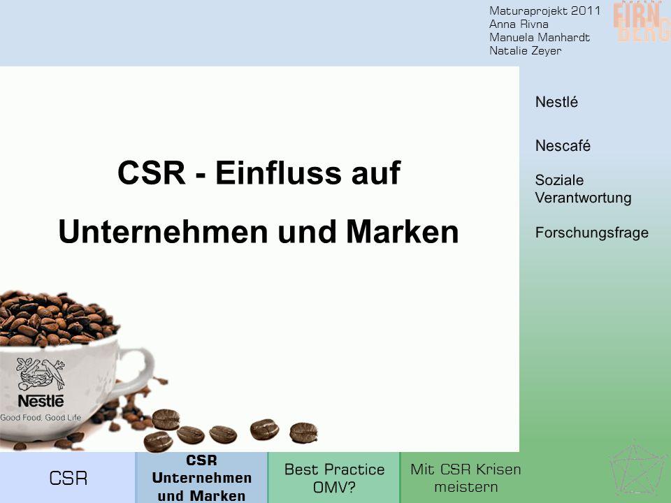 Maturaprojekt 2011 Anna Rivna Manuela Manhardt Natalie Zeyer CSR - Einfluss auf Unternehmen und Marken CSR Unternehmen und Marken Mit CSR Krisen meist