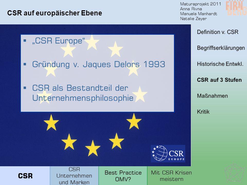 Maturaprojekt 2011 Anna Rivna Manuela Manhardt Natalie Zeyer CSR auf europäischer Ebene CSR Europe Gr ü ndung v. Jaques Delors 1993 CSR als Bestandtei