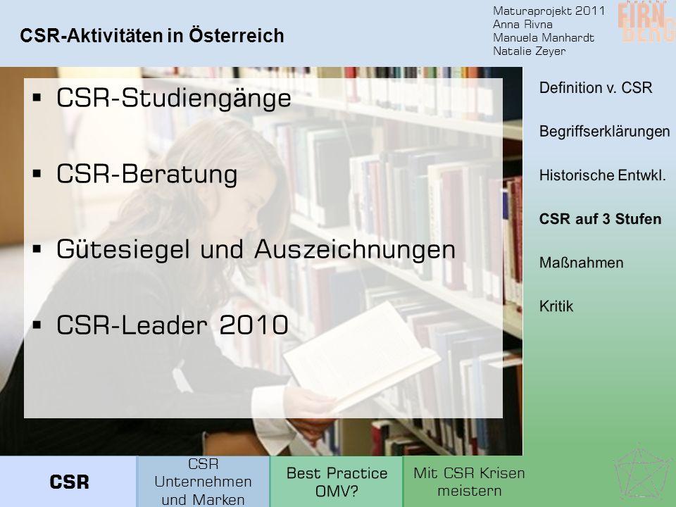 Maturaprojekt 2011 Anna Rivna Manuela Manhardt Natalie Zeyer CSR-Aktivitäten in Österreich CSR-Studieng ä nge CSR-Beratung G ü tesiegel und Auszeichnu