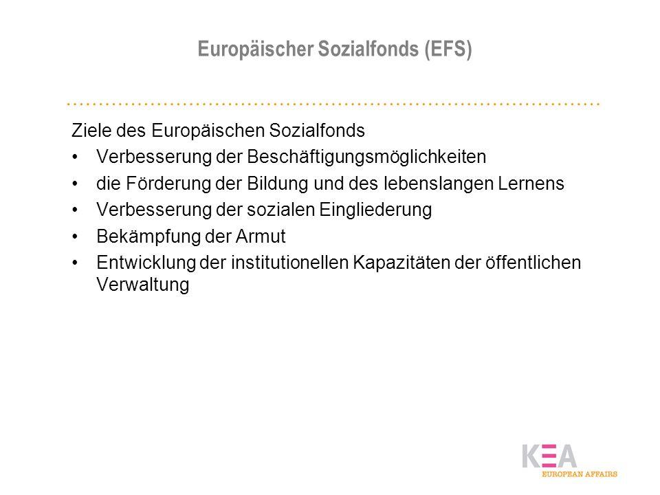 Europäischer Sozialfonds (EFS) Ziele des Europäischen Sozialfonds Verbesserung der Beschäftigungsmöglichkeiten die Förderung der Bildung und des leben