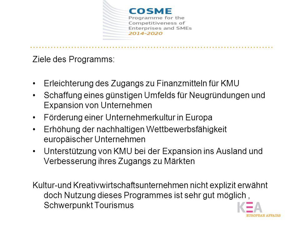 COSME Ziele des Programms: Erleichterung des Zugangs zu Finanzmitteln für KMU Schaffung eines günstigen Umfelds für Neugründungen und Expansion von Un