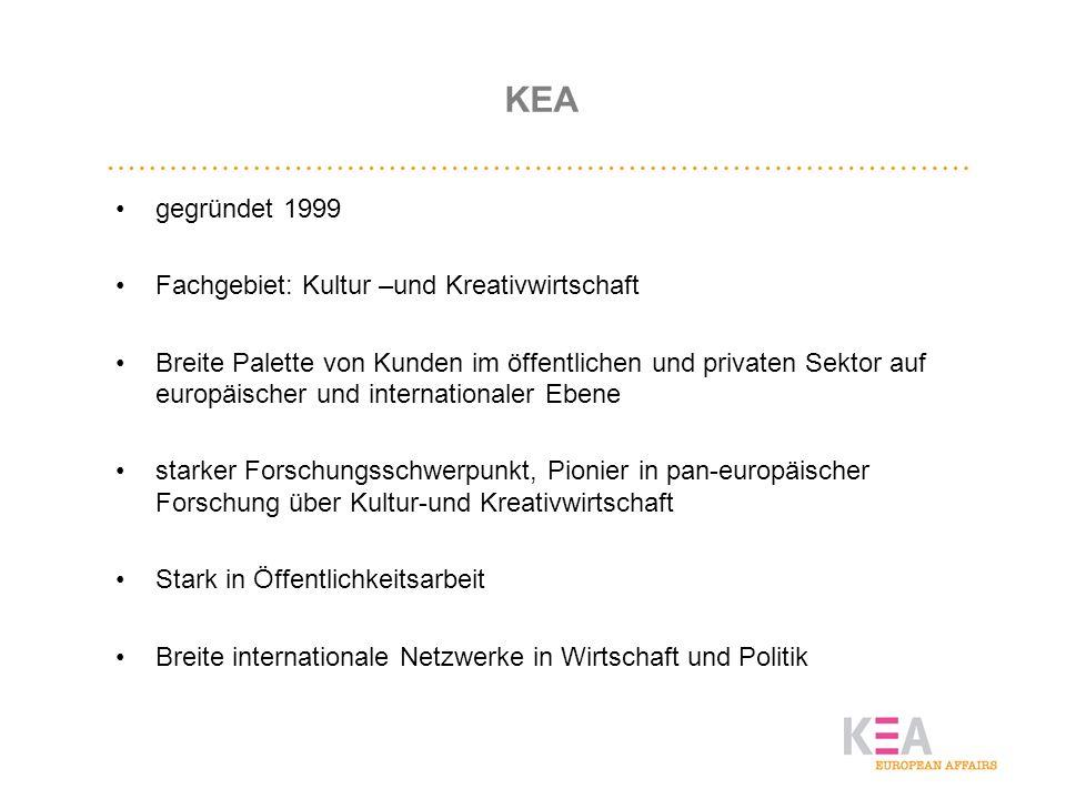 KEA gegründet 1999 Fachgebiet: Kultur –und Kreativwirtschaft Breite Palette von Kunden im öffentlichen und privaten Sektor auf europäischer und intern