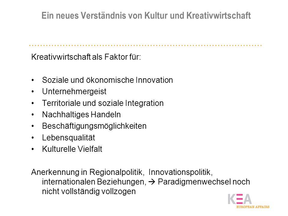 Ein neues Verständnis von Kultur und Kreativwirtschaft Kreativwirtschaft als Faktor für: Soziale und ökonomische Innovation Unternehmergeist Territori