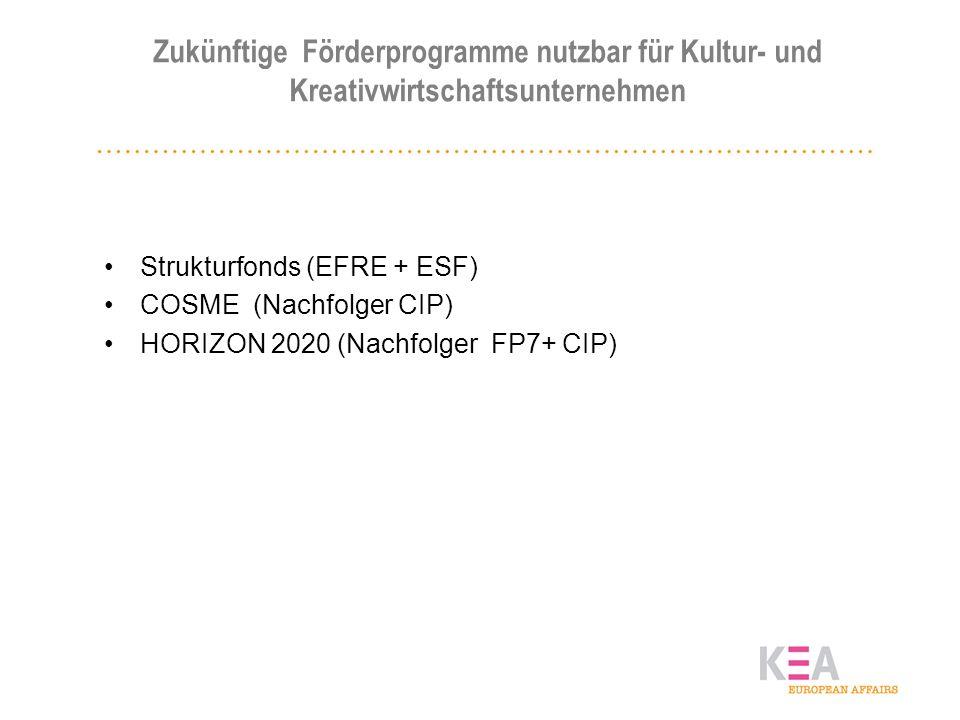 Zukünftige Förderprogramme nutzbar für Kultur- und Kreativwirtschaftsunternehmen Strukturfonds (EFRE + ESF) COSME (Nachfolger CIP) HORIZON 2020 (Nachf