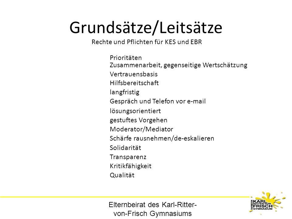 Elternbeirat des Karl-Ritter- von-Frisch Gymnasiums Grundsätze/Leitsätze Gespräch und Telefon vor e-mail Rechte und Pflichten für KES und EBR langfris
