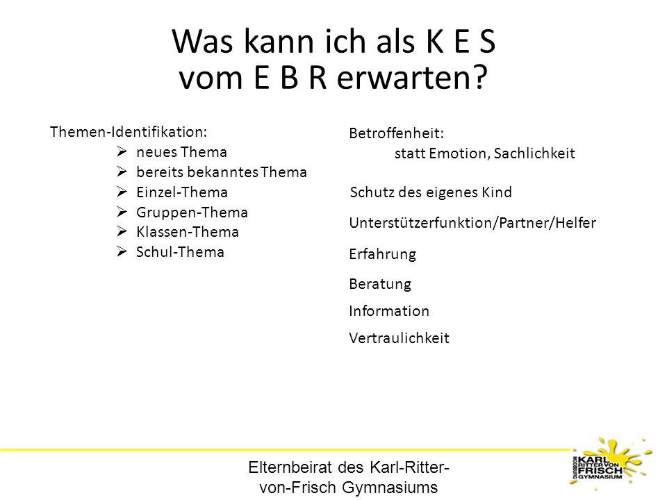 Elternbeirat des Karl-Ritter- von-Frisch Gymnasiums Was kann ich als K E S vom E B R erwarten? Erfahrung Unterstützerfunktion/Partner/Helfer Schutz de