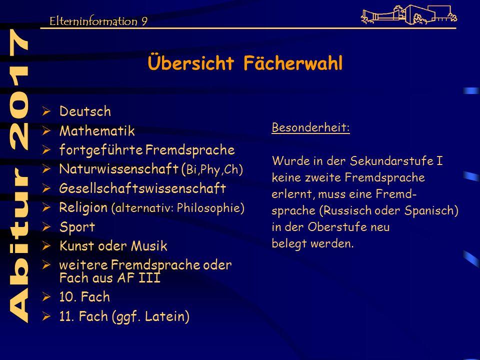 Übersicht Fächerwahl Deutsch Mathematik fortgeführte Fremdsprache Naturwissenschaft ( Bi,Phy,Ch) Gesellschaftswissenschaft Religion (alternativ: Philo