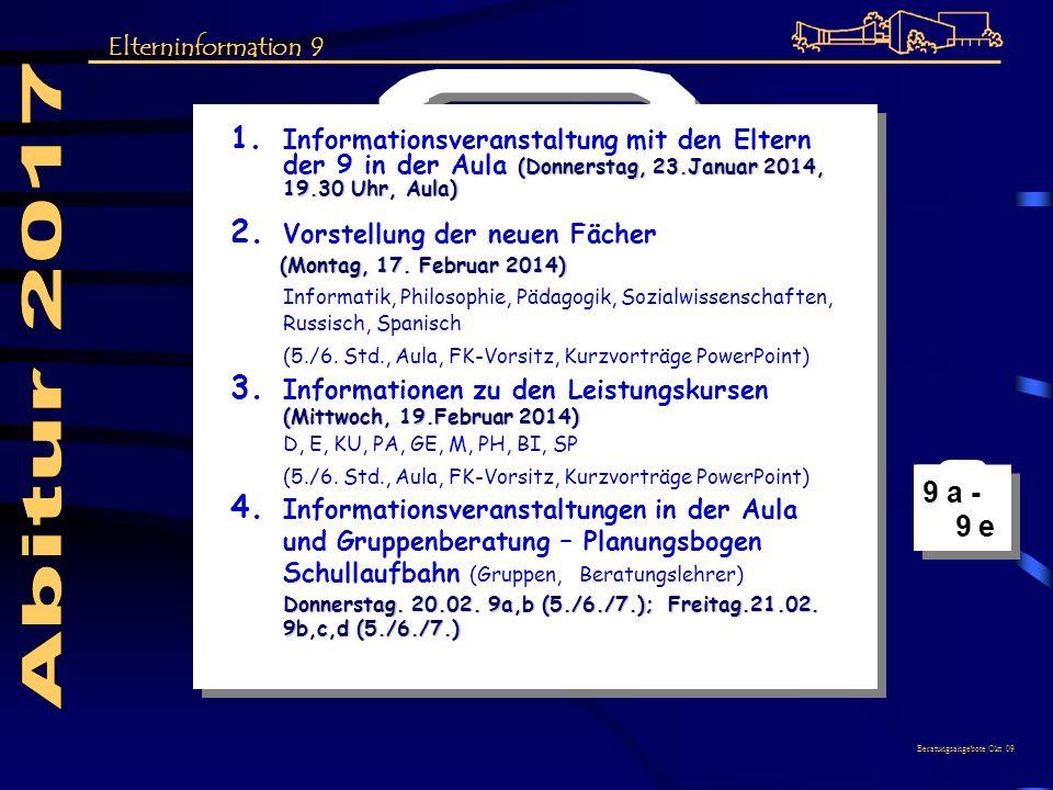 (Donnerstag, 23.Januar 2014, 19.30 Uhr, Aula) 1. Informationsveranstaltung mit den Eltern der 9 in der Aula (Donnerstag, 23.Januar 2014, 19.30 Uhr, Au