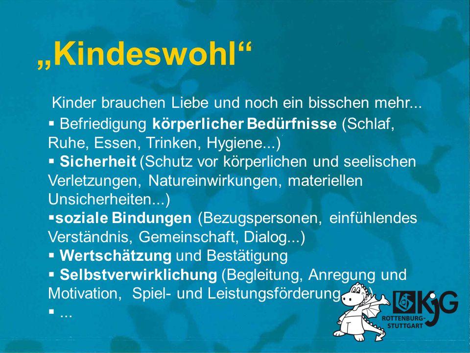 Kindeswohl Befriedigung körperlicher Bedürfnisse (Schlaf, Ruhe, Essen, Trinken, Hygiene...) Sicherheit (Schutz vor körperlichen und seelischen Verletz