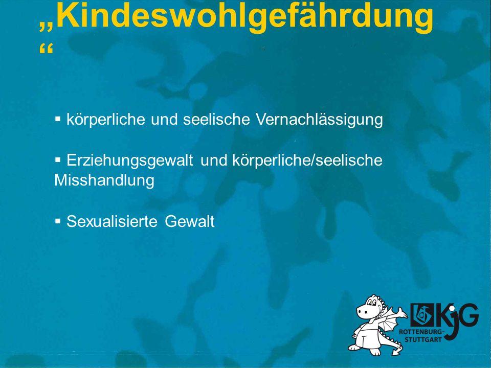 Kindeswohlgefährdung körperliche und seelische Vernachlässigung Erziehungsgewalt und körperliche/seelische Misshandlung Sexualisierte Gewalt