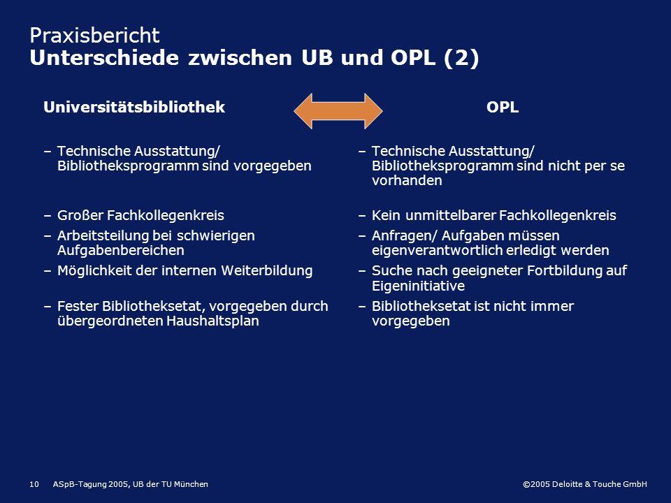 ©2005 Deloitte & Touche GmbH ASpB-Tagung 2005, UB der TU München10 Praxisbericht Unterschiede zwischen UB und OPL (2) Universitätsbibliothek –Technisc