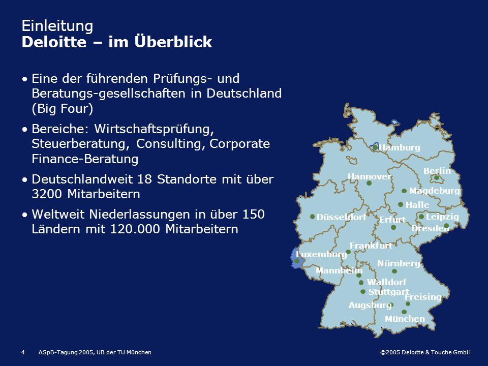 ©2005 Deloitte & Touche GmbH ASpB-Tagung 2005, UB der TU München4 Einleitung Deloitte – im Überblick Eine der führenden Prüfungs- und Beratungs-gesell