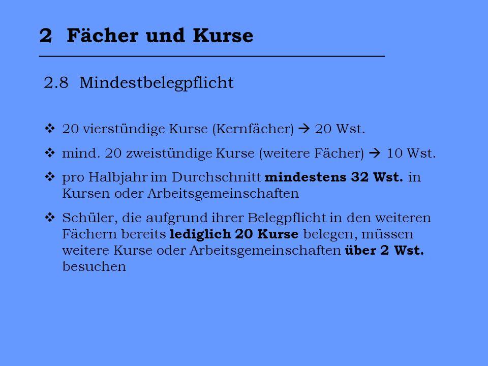 2 Fächer und Kurse __________________________________ 2.8 Mindestbelegpflicht 20 vierstündige Kurse (Kernfächer) 20 Wst.