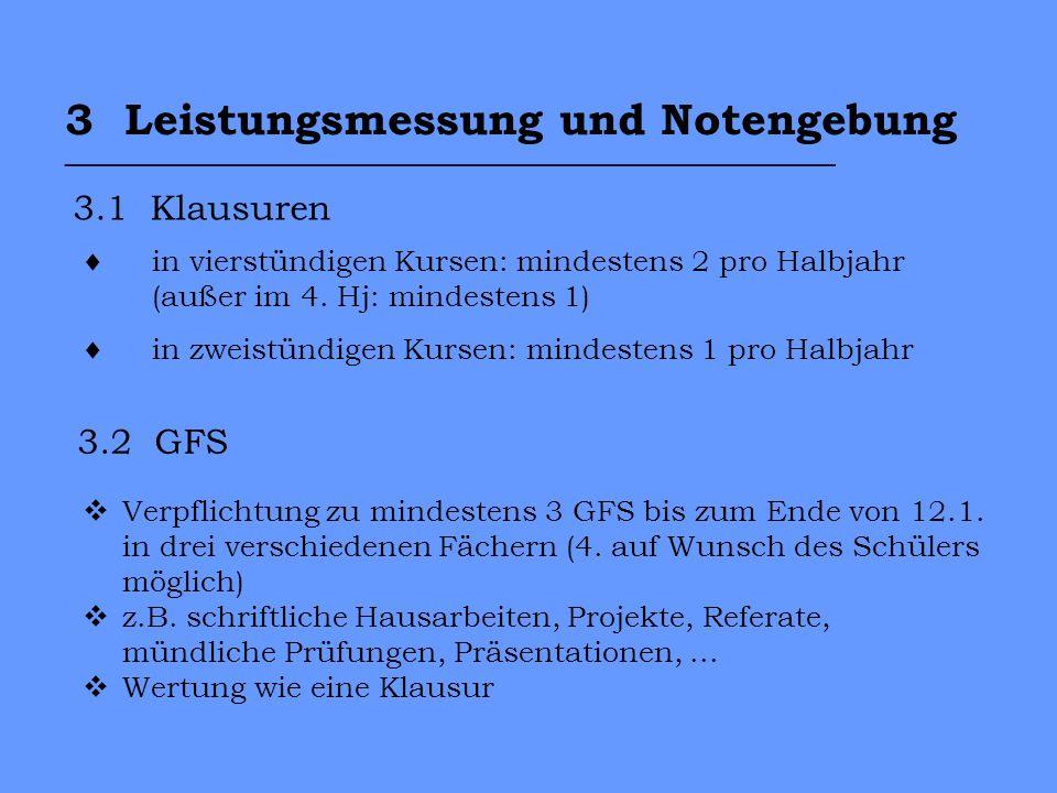 3 Leistungsmessung und Notengebung ___________________________________ 3.1 Klausuren 3.2 GFS Verpflichtung zu mindestens 3 GFS bis zum Ende von 12.1.
