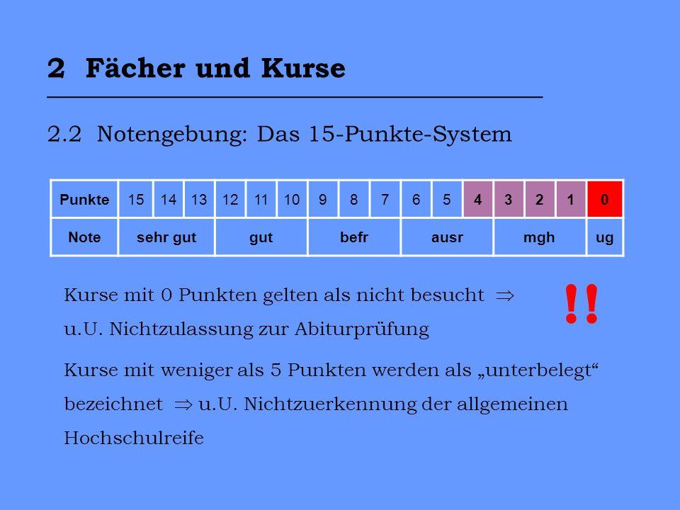 2 Fächer und Kurse ___________________________________ 2.2 Notengebung: Das 15-Punkte-System Punkte1514131211109876543210 Notesehr gutgutbefrausrmghug Kurse mit 0 Punkten gelten als nicht besucht u.U.