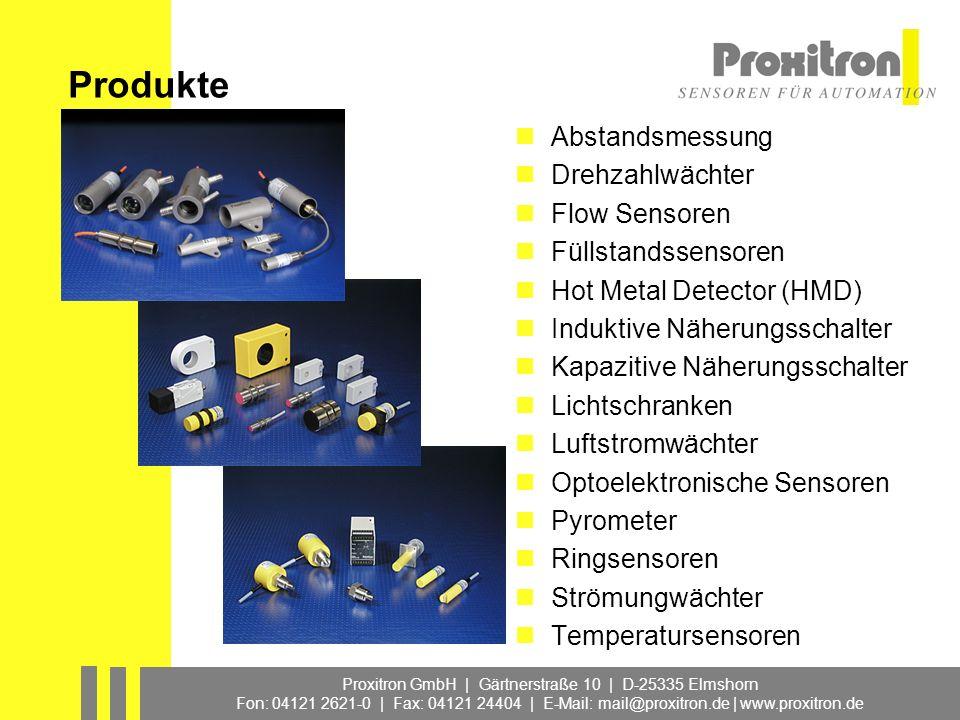 Proxitron GmbH | Gärtnerstraße 10 | D-25335 Elmshorn Fon: 04121 2621-0 | Fax: 04121 24404 | E-Mail: mail@proxitron.de | www.proxitron.de Applikationen im Stahlwerk Anlagenarten Stranggießanlagen (Brammen, Vorblock, Knüppel, CSP) Block-, Blech- und Brammenwalzwerke Warmbandstraßen Profil- und Drahtstraßen Konti-Bandbeizen Kaltwalzwerke Konti-Glühlinien